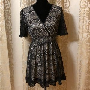 Style&co black lace dress with silky under layer